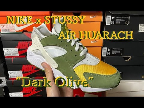 "NIKE x STUSSY AIR HUARACHE ""DARK OLIVE"" review & on feet!ステューシー × ナイキ エアハラチ 2カラー"