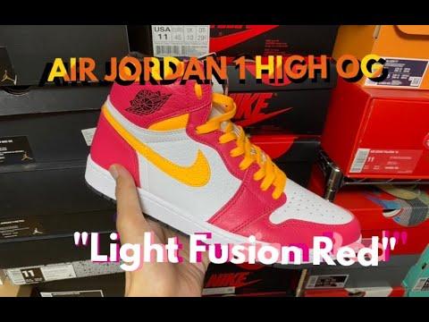 """NIKE AIR JORDAN 1 RETRO HIGH OG """"Light Fusion Red"""" review & on feet"""